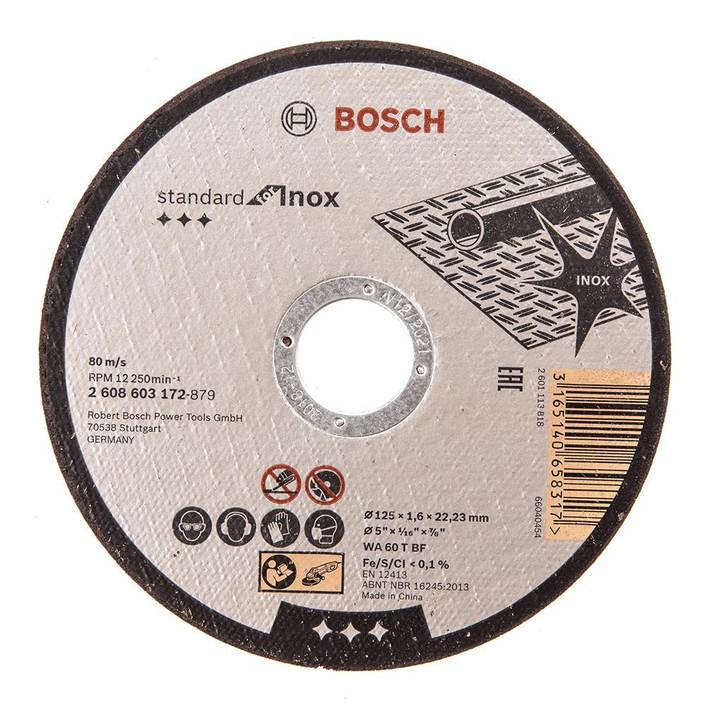 Круг отрезной Bosch 125х1.6х22 standard for inox (2.608.603.172) диск отрезной bosch standard