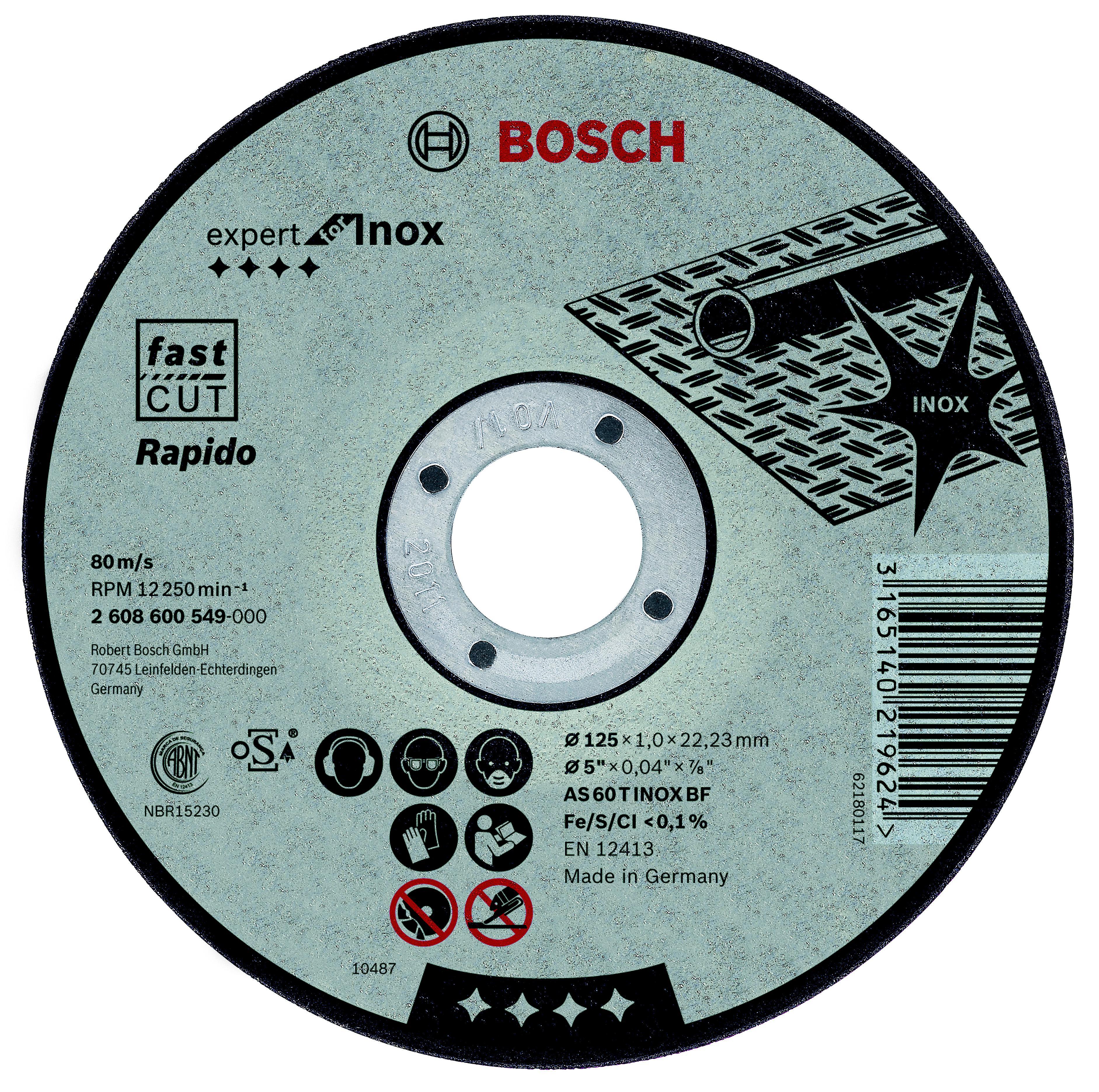 Круг отрезной Bosch Expert for inox 115x1,0x22по нерж. (2.608.600.545) диск отрезной bosch expert for inox
