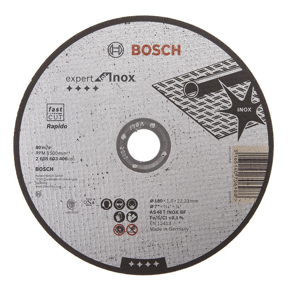 Круг отрезной Bosch Expert for inox 180x1,6x22по нерж. (2.608.603.406) круг отрезной hammer 180 x 1 6 x 22 по металлу и нерж стали коробка 150шт