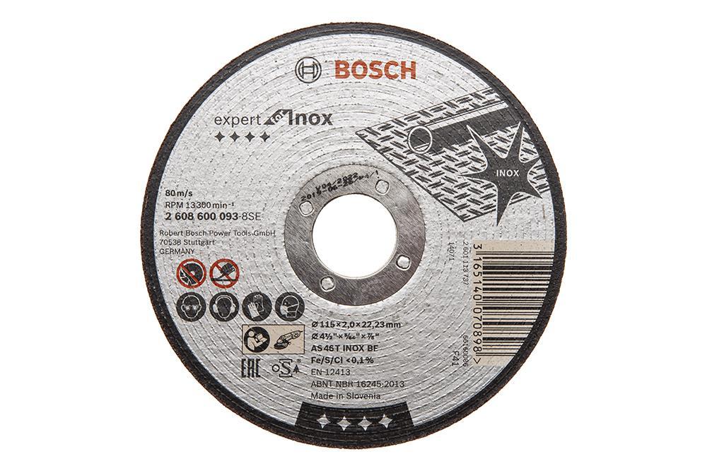 Круг отрезной Bosch Expert for inox 115x2,0x22по нерж. (2.608.600.093) диск отрезной bosch expert for inox
