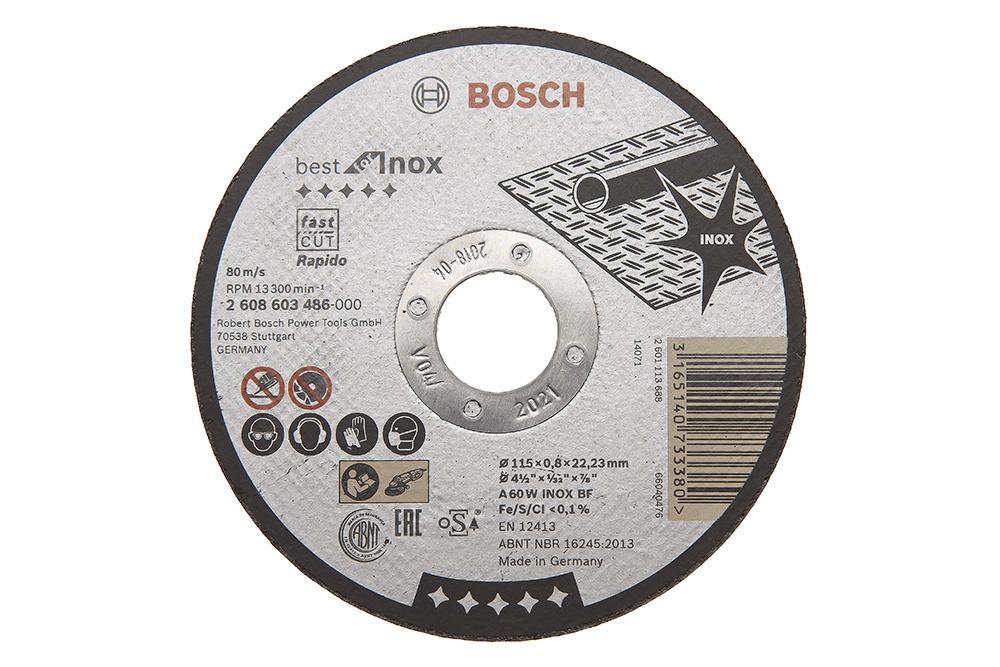 Круг отрезной Bosch Best for inox 115x0,8x22по нерж. (2.608.603.486) круг отрезной hammer flex 115 x 1 0 x 22 по металлу и нержавеющей стали 25шт