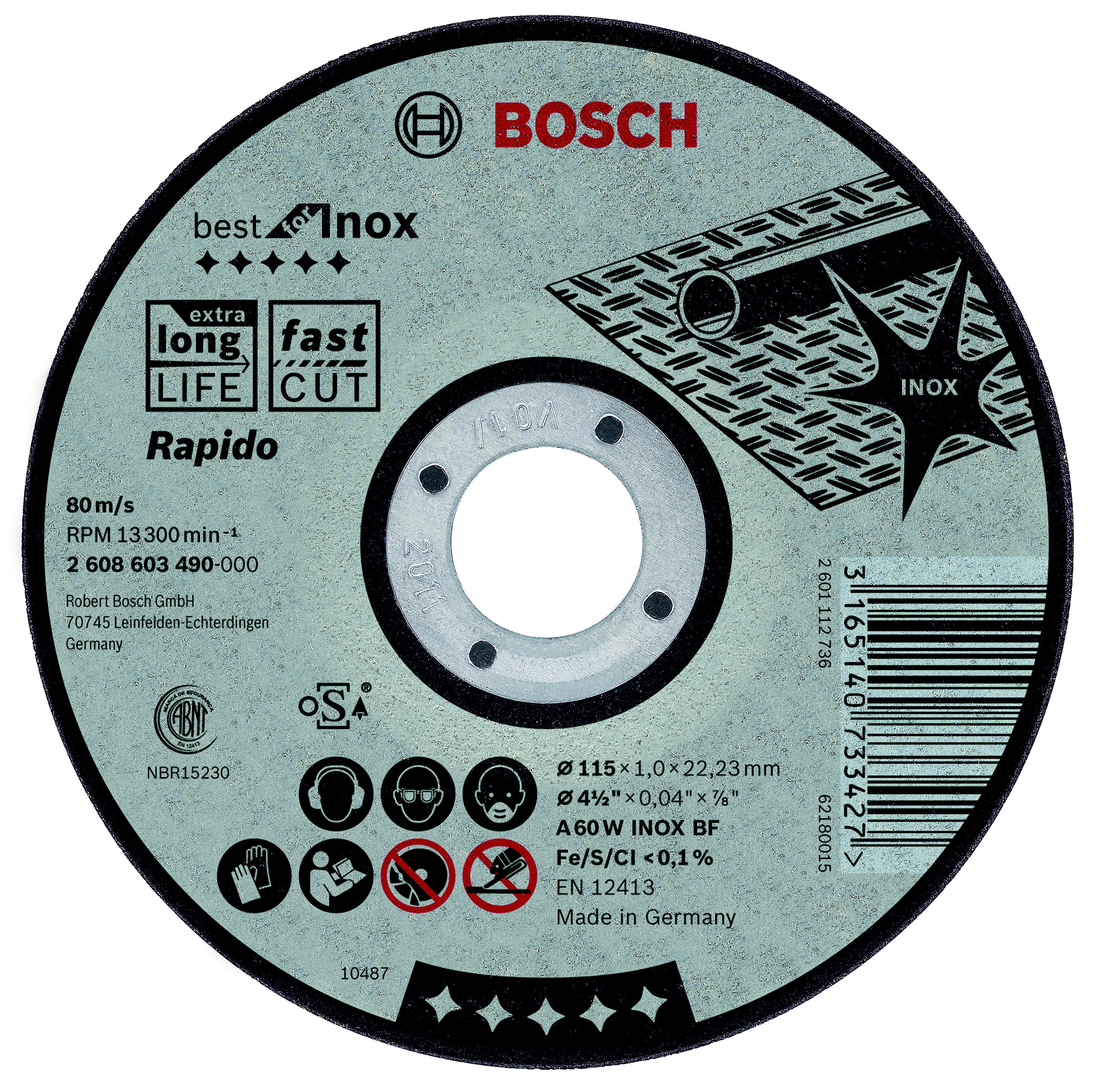 Круг отрезной Bosch 115х1х22 best for inox (2.608.603.490)