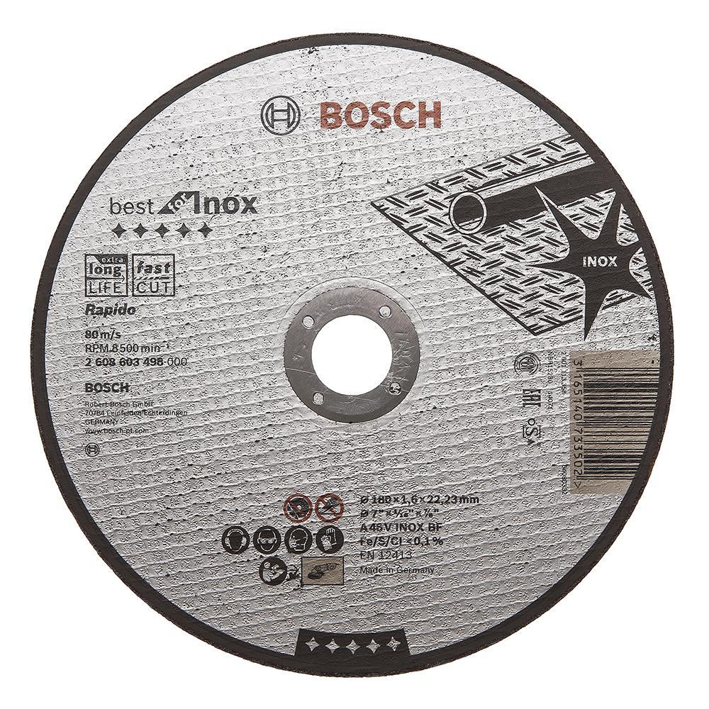 Круг отрезной Bosch Best for inox 180x1,6x22по нерж. (2.608.603.498) круг отрезной hammer flex 115 x 1 0 x 22 по металлу и нержавеющей стали 25шт
