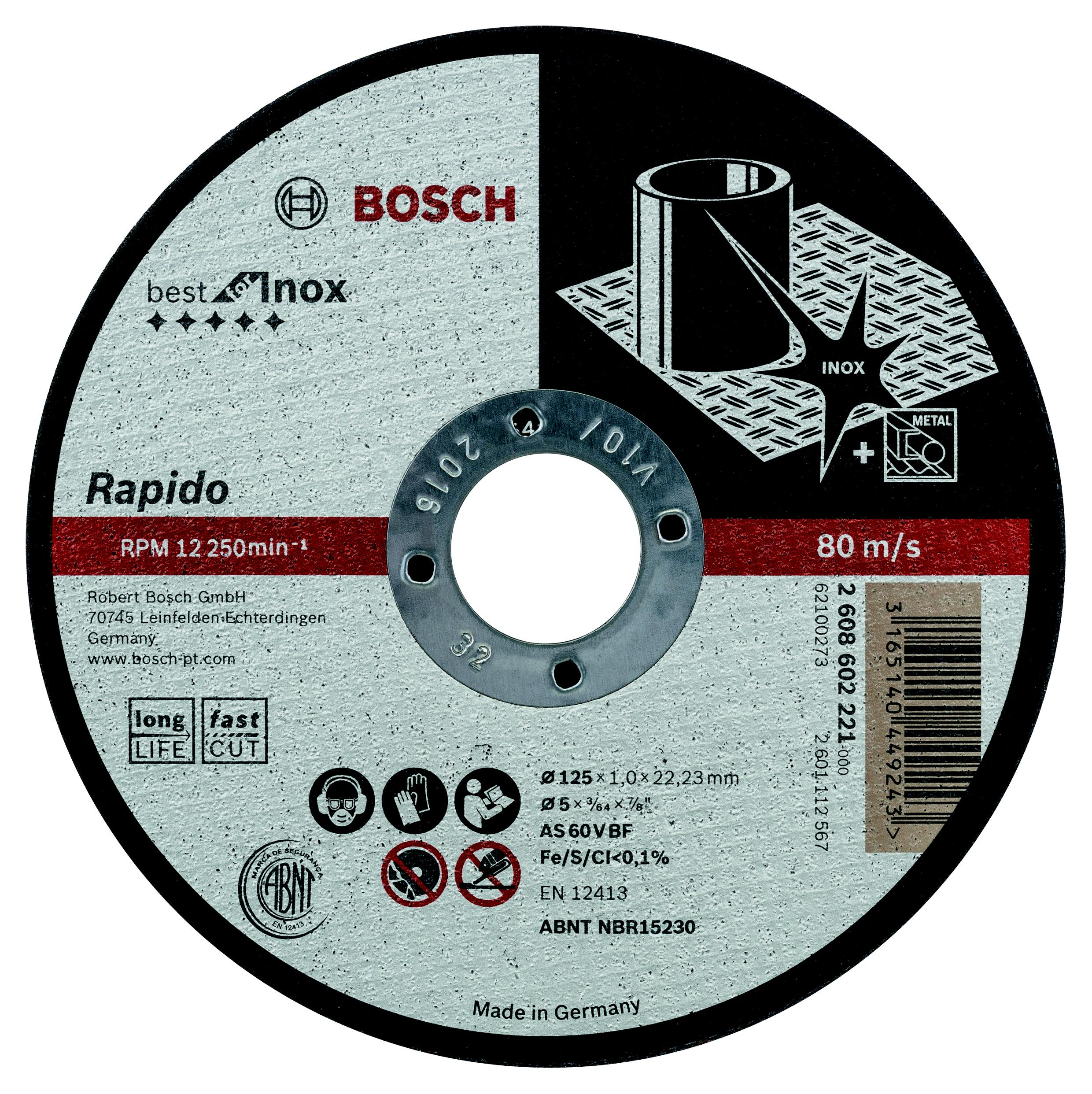 Круг отрезной Bosch Best for inox rapido 115x1,0x22по нерж. (2.608.602.220) круг отрезной hammer flex 115 x 1 0 x 22 по металлу и нержавеющей стали 25шт