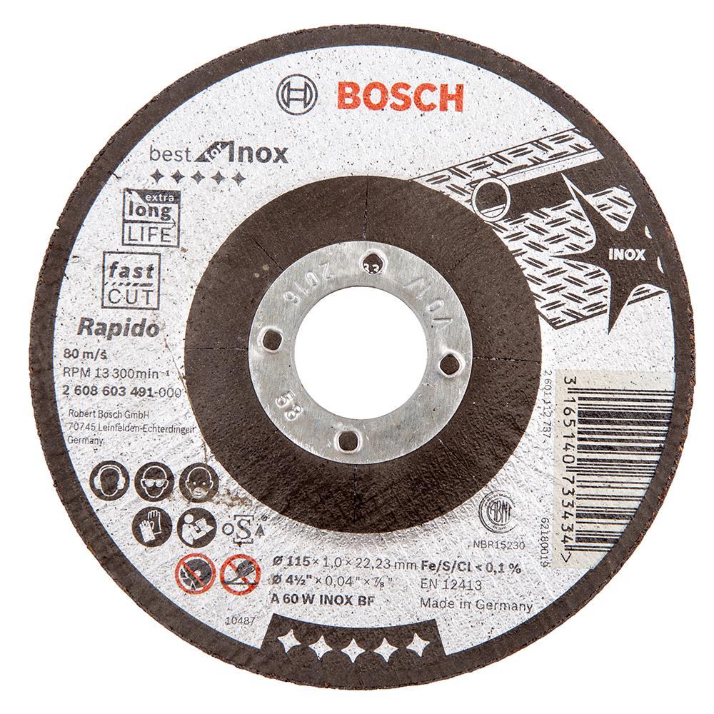 Круг отрезной Bosch Best for inox 115x1,5x22по нерж. (2.608.603.494) круг отрезной hammer 115 x 1 0 x 22 по металлу и нерж стали коробка 400шт