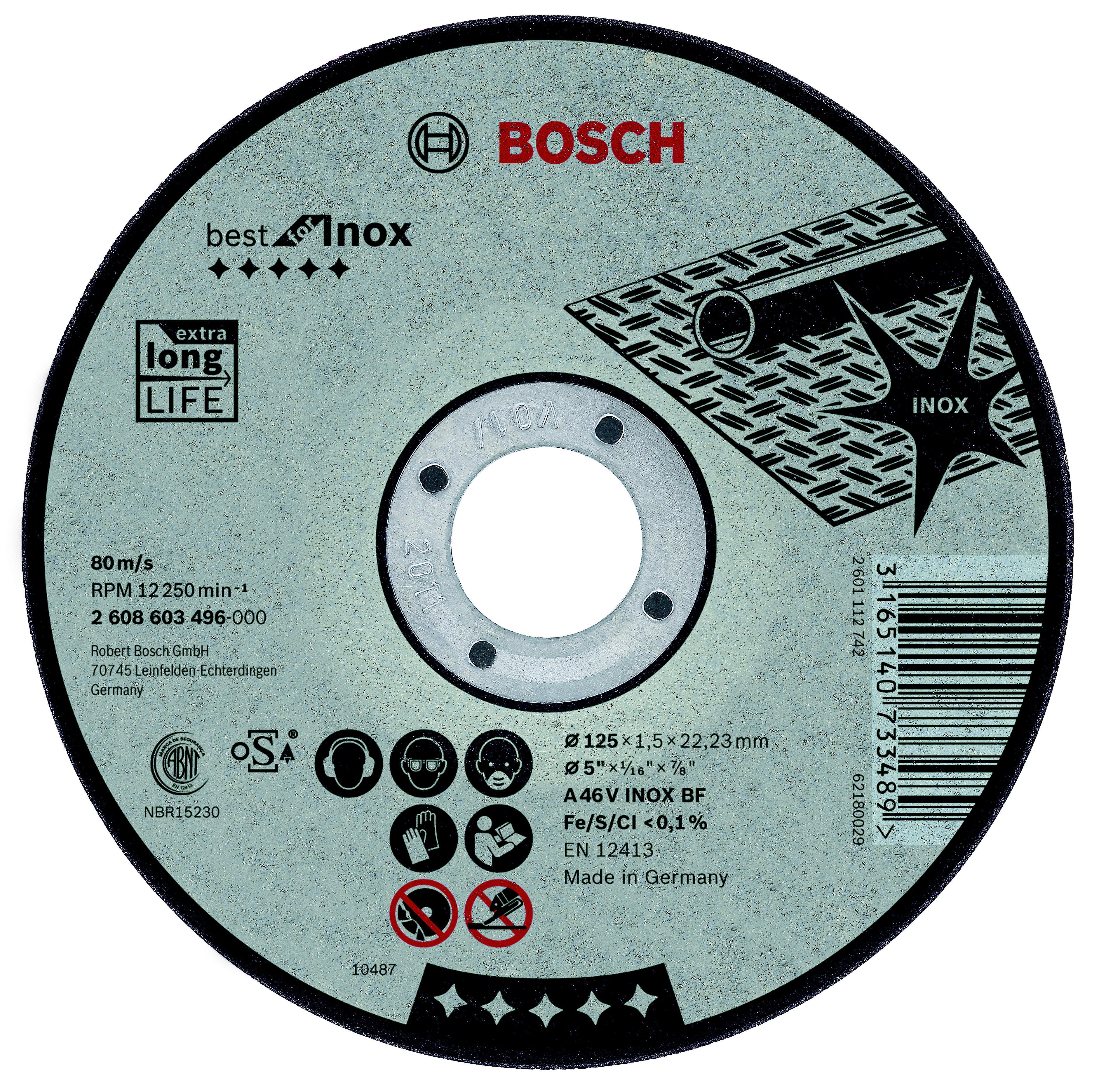 Круг отрезной Bosch Best for inox 115x2,5x22по нерж. (2.608.603.502) круг отрезной hammer flex 115 x 1 0 x 22 по металлу и нержавеющей стали 25шт