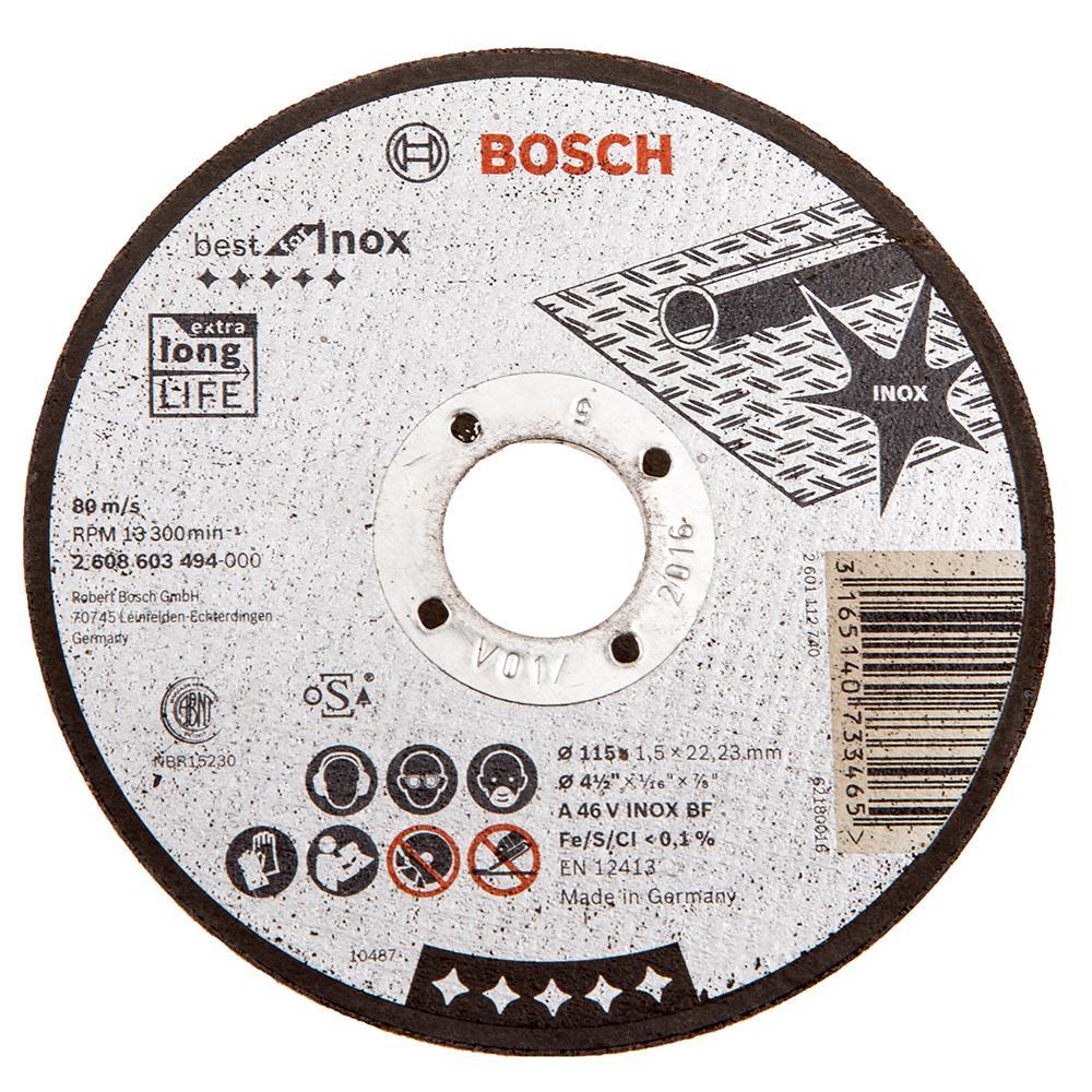 Круг отрезной Bosch Best for inox 125x1,5x22по нерж. (2.608.603.496) круг отрезной hammer flex 115 x 1 0 x 22 по металлу и нержавеющей стали 25шт