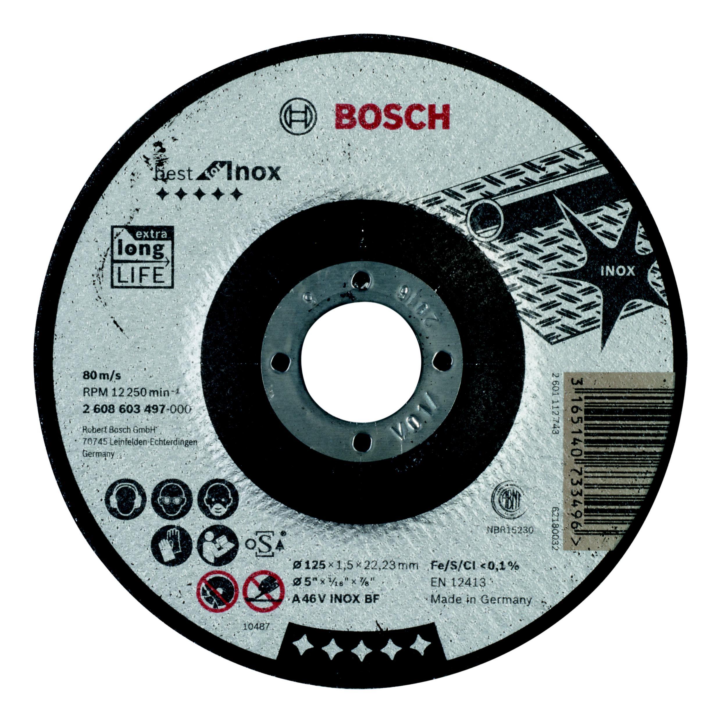 Круг отрезной Bosch Best for inox 115x2,5x22по нерж., выпуклый (2.608.603.503)