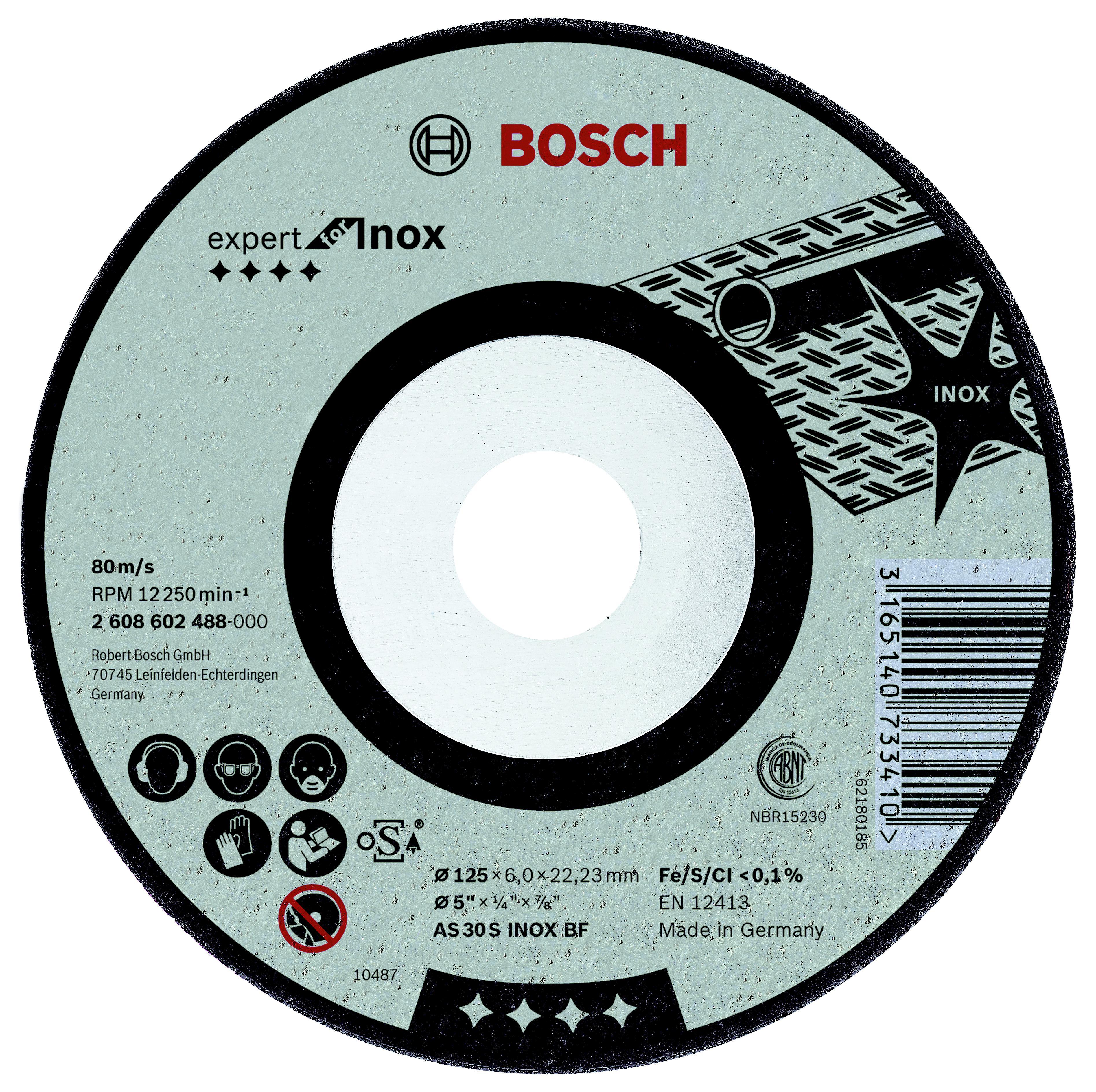 Круг зачистной Bosch Expert for inox 125x6x22по нерж. (2.608.602.488) круг зачистной обдирочный для нержавейки 150х22х6 мм inox bosch профи