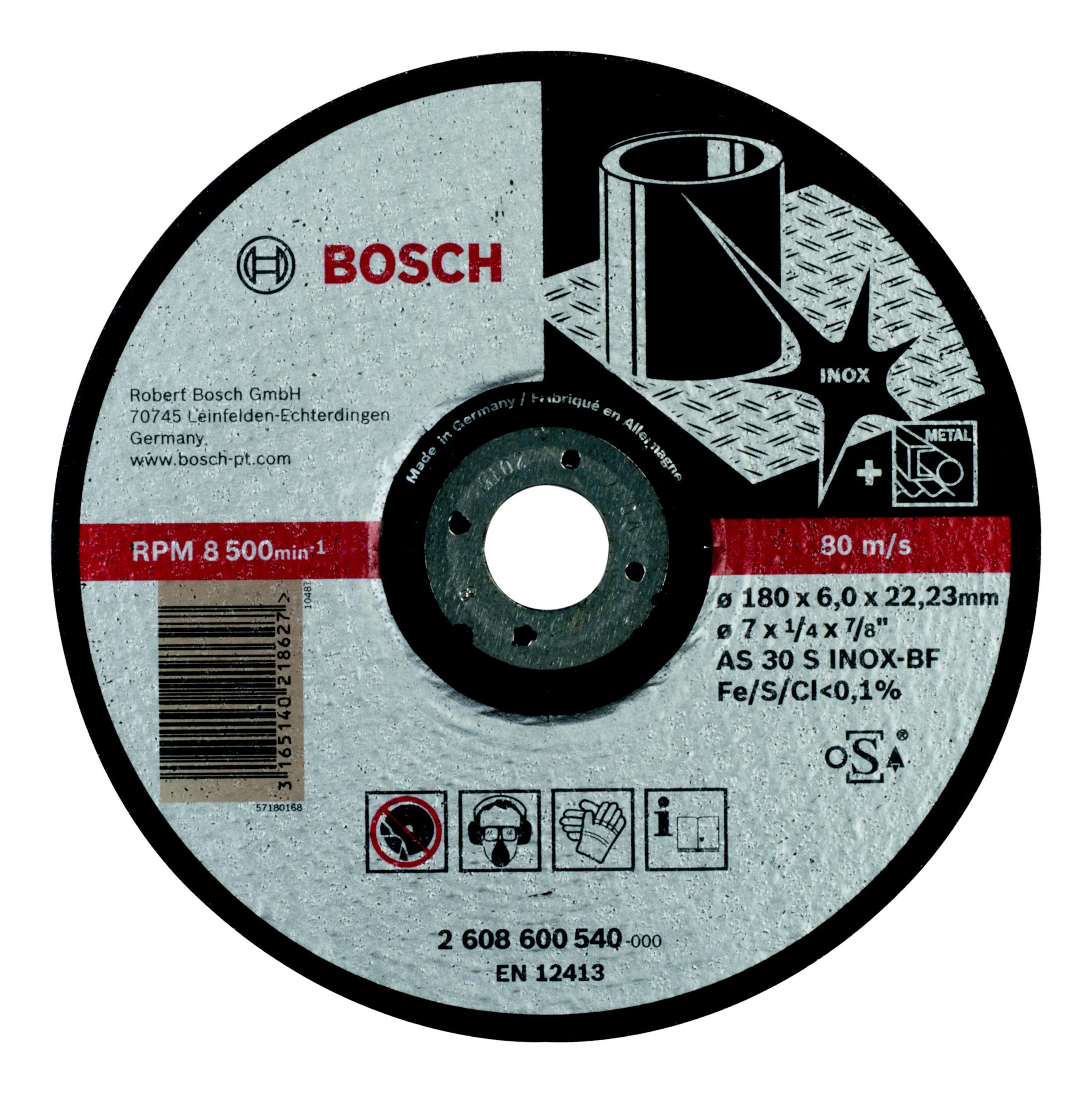 Круг зачистной Bosch Expert for inox 180x6x22по нерж. (2.608.600.540) круг зачистной обдирочный для нержавейки 150х22х6 мм inox bosch профи