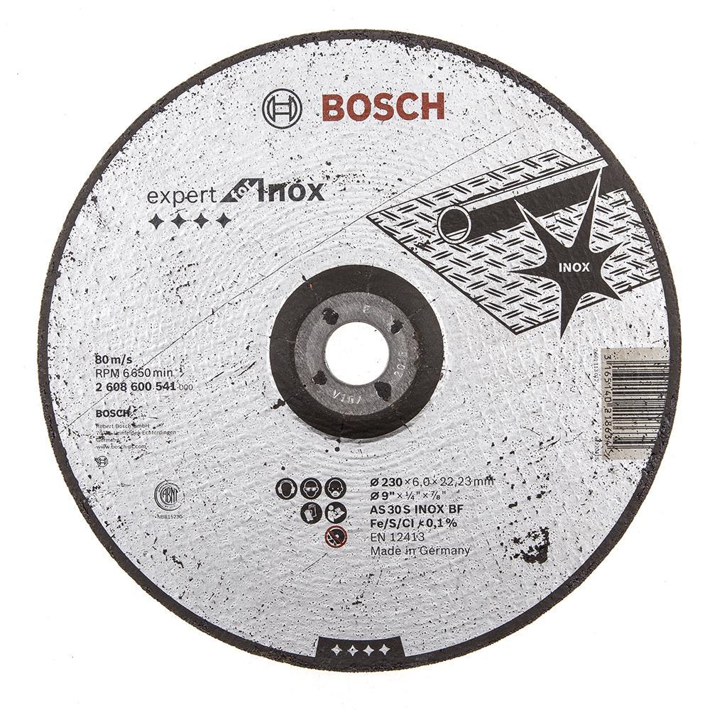 Круг зачистной Bosch Expert for inox 230x6x22по нерж. (2.608.600.541) круг зачистной обдирочный для нержавейки 150х22х6 мм inox bosch профи