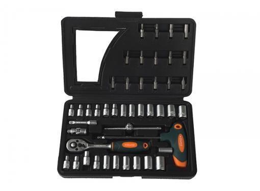 Набор торцевых головок с принадлежностями в пластиковом кейсе, 45 предметов STURM! 1045-20-ST45