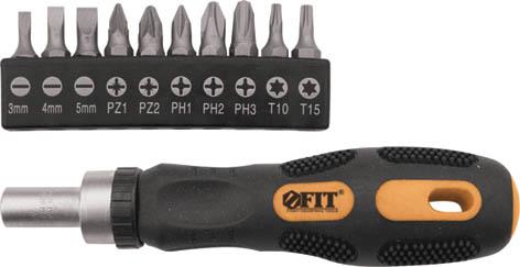 Отвертка реверсивная с набором бит Fit 56319  набор отверток fit 56041