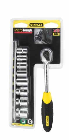 Набор торцевых головок с трещоткой, 10 предметов Stanley ''microtough'' 0-94-610