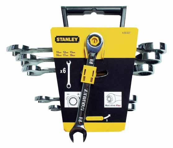 Набор гаечных ключей с трещоткой, 6 шт. Stanley Maxi drive 4-89-907 набор гаечных комбинированных ключей с трещоткой 7 шт gross 14891 комбинированные ключи