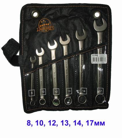Набор комбинированных гаечных ключей в чехле, 6 шт. Skrab 44046 (8 - 17 мм) набор торцевых головок jonnesway 3 8dr 6 22 мм и комбинированных ключей 7 17 мм 36 предметов
