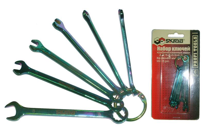 Набор комбинированных мини гаечных ключей, 6 шт. Skrab 44056 (4 - 7 мм) набор гаечных комбинированных ключей с трещоткой 7 шт gross 14891 комбинированные ключи