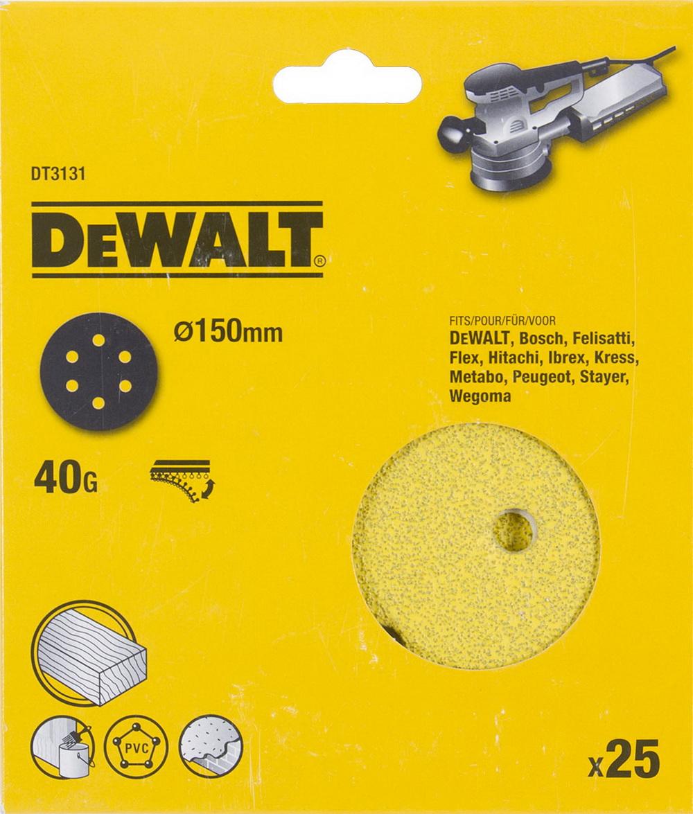 Круг шлиф. самосцепляющийся Dewalt 150мм p40 6отв.