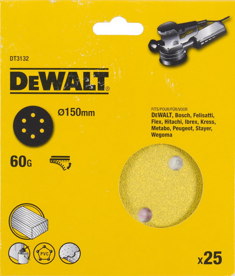 Круг шлиф. самосцепляющийся Dewalt 150мм p60 6отв.