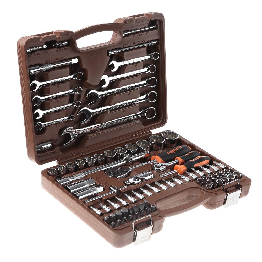 Универсальный набор инструмента с головками торцевыми 12-гранными 1/4, 1/2dr (82 предмета) Ombra Omt82s12