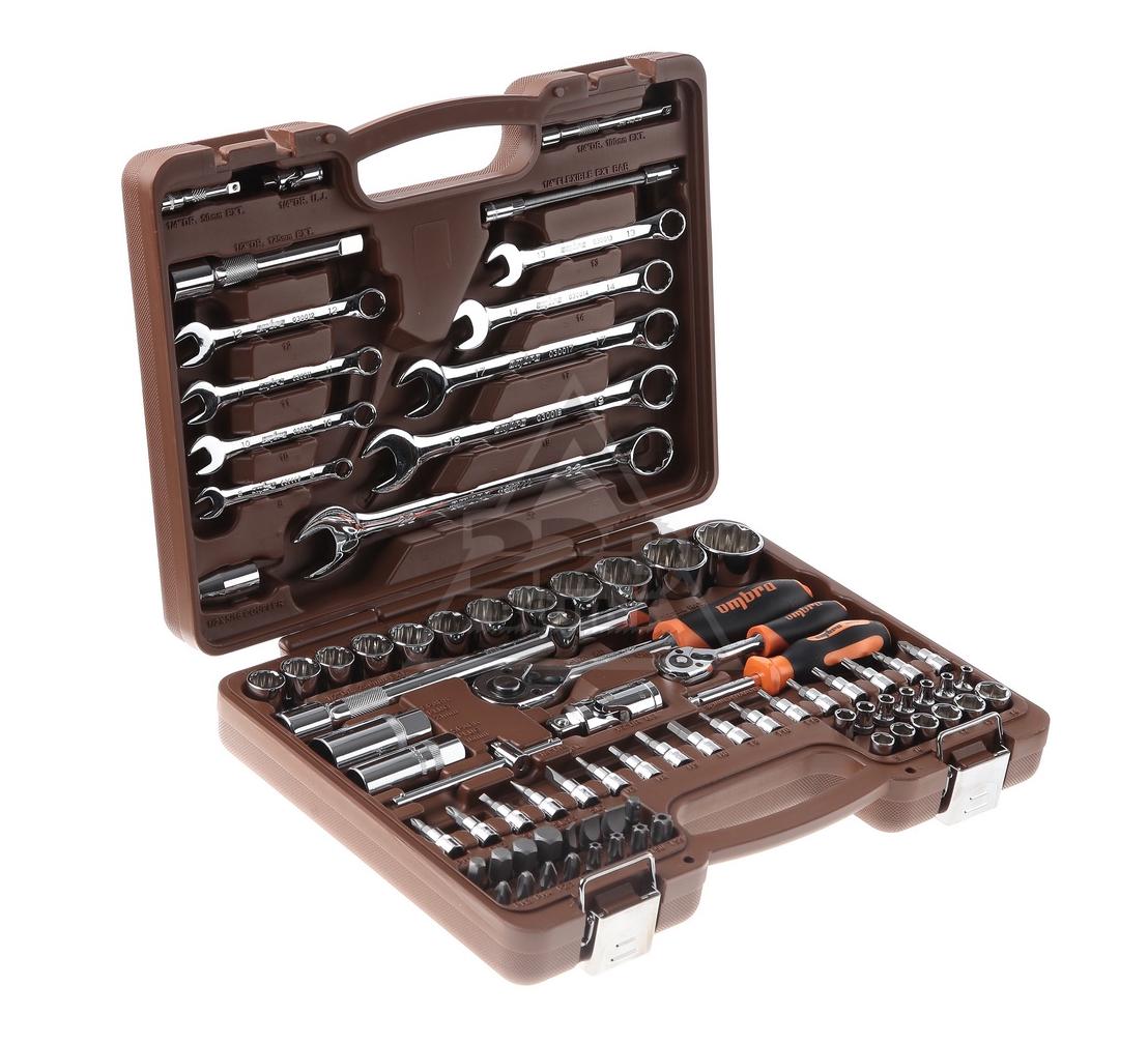 """Набор инструмента OMBRA OMT82S12 универсальный с головками торцевыми 12-гранными 1/4"""", 1/2""""DR (82 предмета)"""