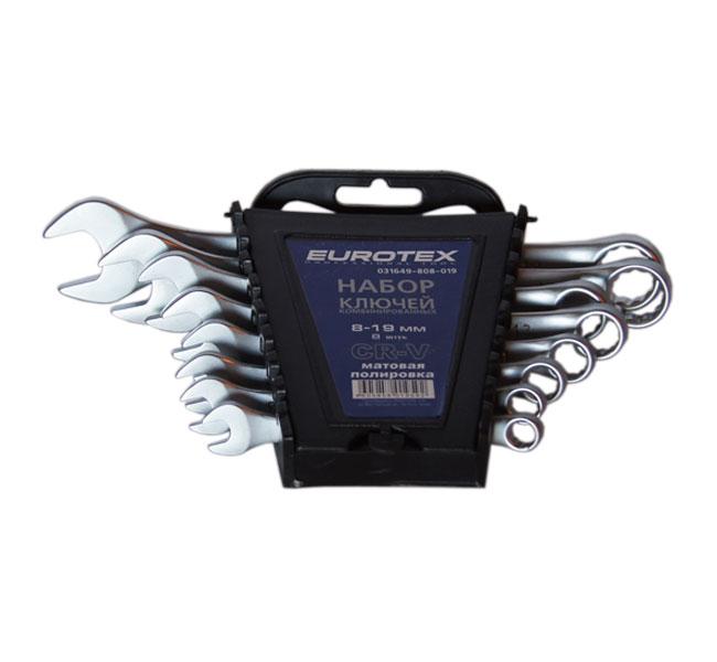 Набор комбинированных гаечных ключей в держателе, 8 шт. Eurotex 031649-808-019 (8 - 19 мм)