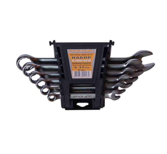 Набор комбинированных гаечных ключей в держателе, 6 шт. Eurotex 031654-606-017 (6 - 17 мм) набор комбинированных гаечных ключей 26 шт jonnesway w26126s 6 32 мм