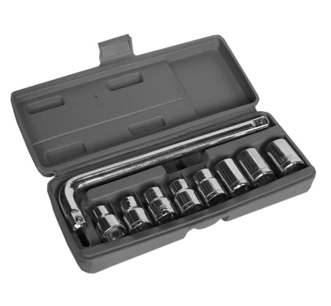 Набор торцевых головок с принадлежностями, 9 предметов Santool 031720 набор торцевых головок stanley и комбинированных ключей 40 предметов 1 99 056