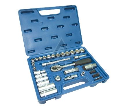 Набор торцевых головок с принадлежностями в пластиковом кейсе, 39 предметов SANTOOL 110302-039