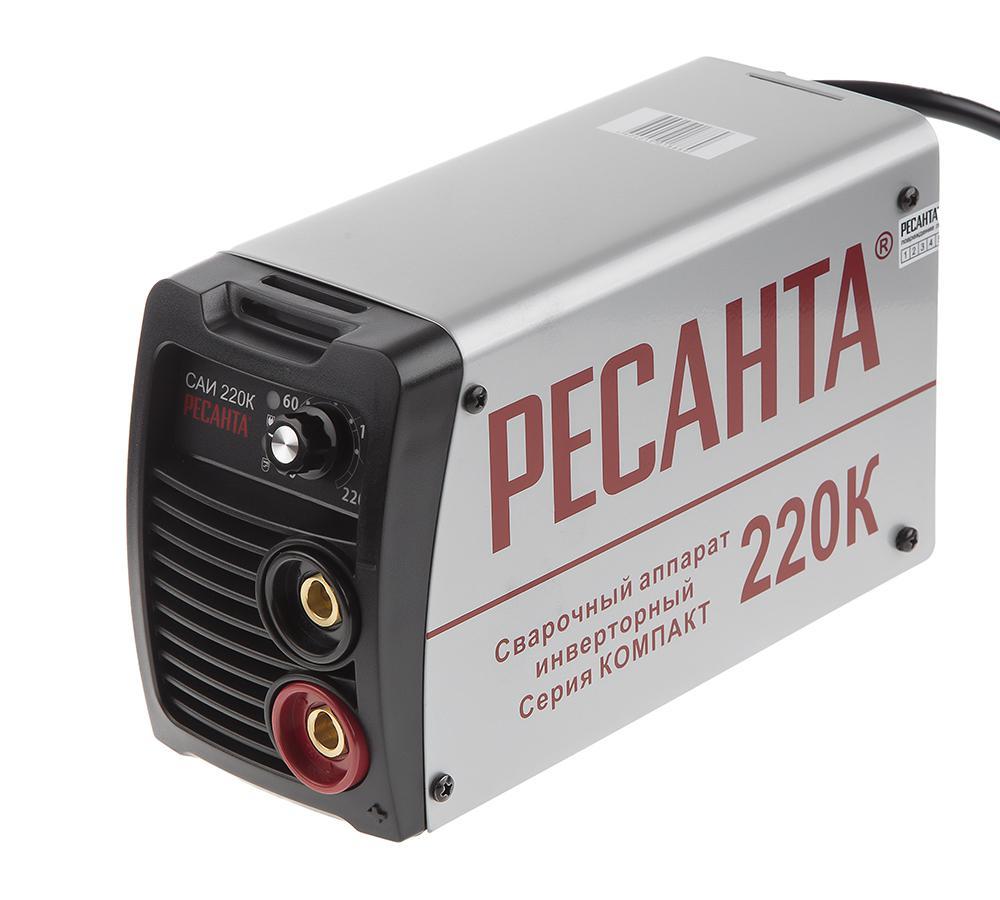 Сварочный инвертор РЕСАНТА САИ 220К инвертор сварочный ресанта саи 220к компакт 220±10% mma 10 220а 70% max5мм ip21