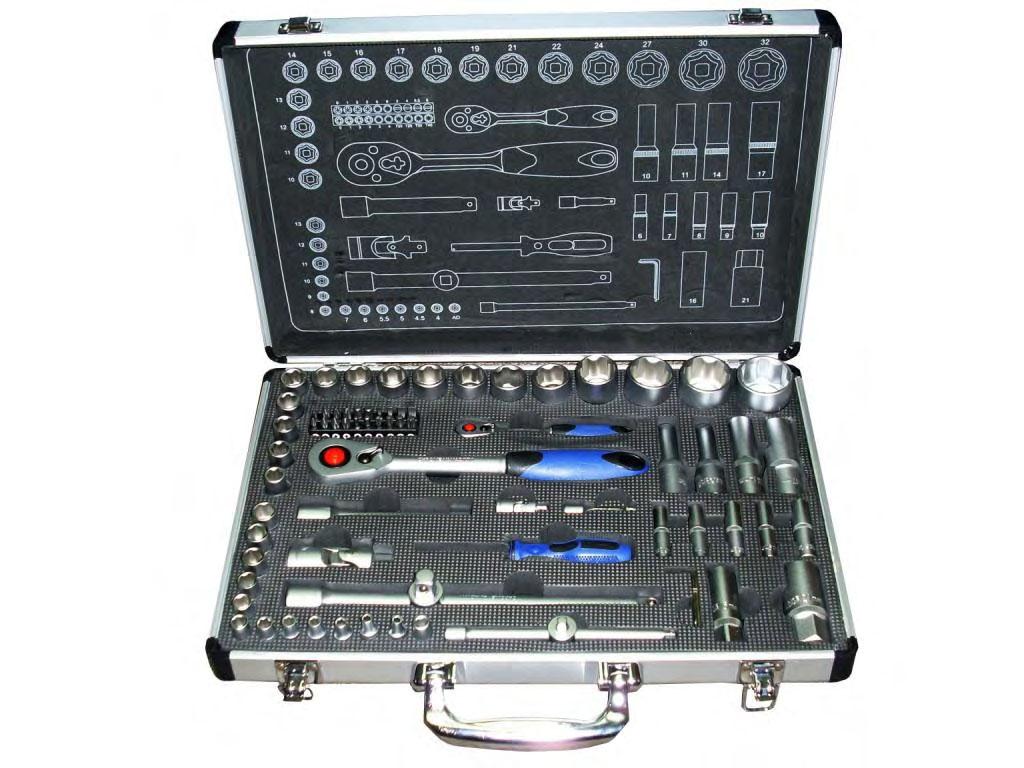 Набор торцевых головок с принадлежностями и битами, 75 предметов Unipro 20001u набор торцевых головок jonnesway 3 8dr 6 22 мм и комбинированных ключей 7 17 мм 36 предметов