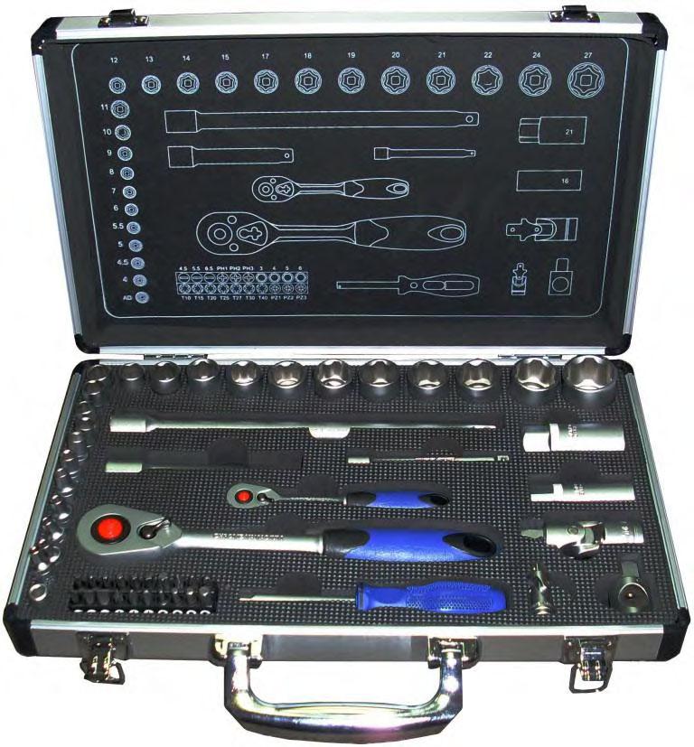 Набор торцевых головок с принадлежностями в чемодане, 54 предмета Unipro 20002u набор инструментов unipro 70 предметов