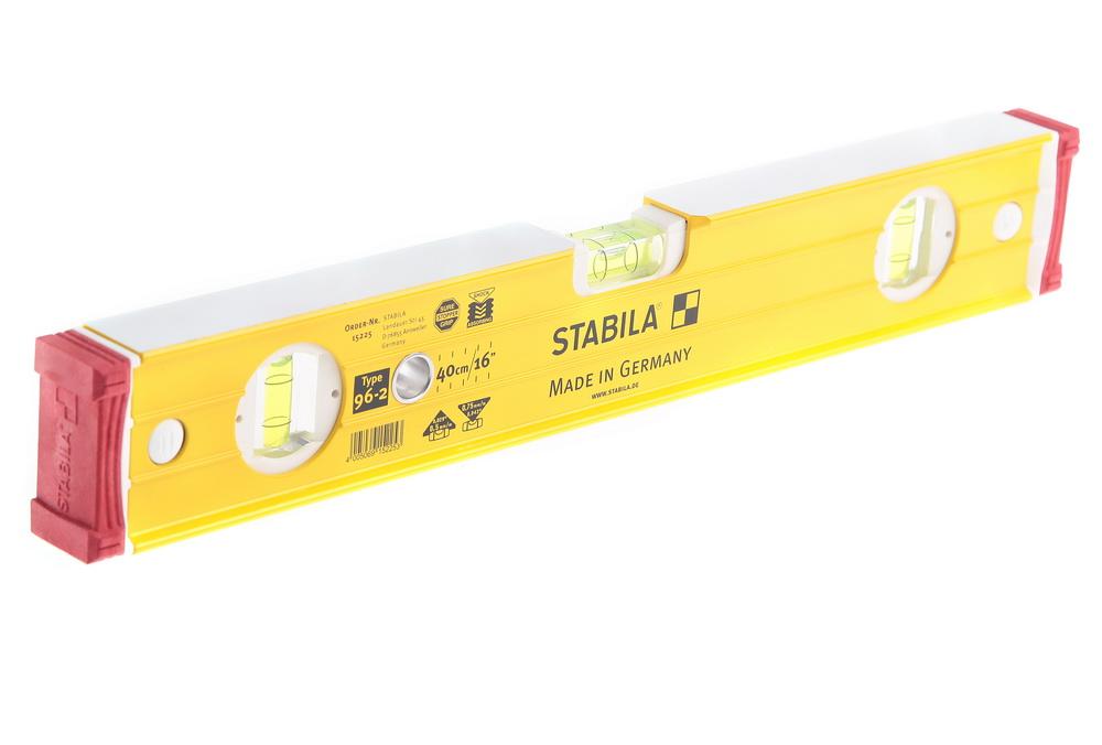 Уровень пузырьковый Stabila 15225 тип 96-2  400мм, 3 глазка уровень stabila 60 см 2 глазка тип 70