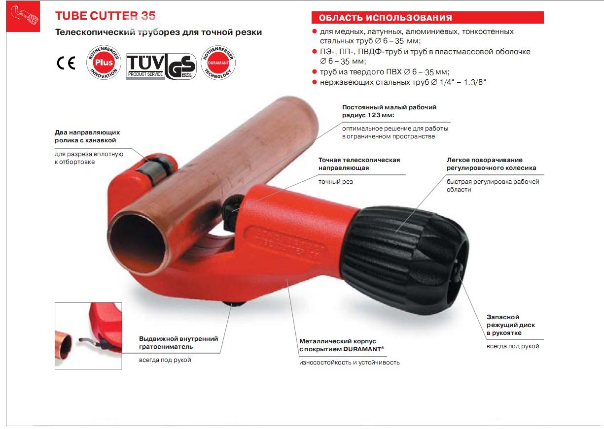 Труборез Rothenberger Tube cutter 35 70027 от 220 Вольт