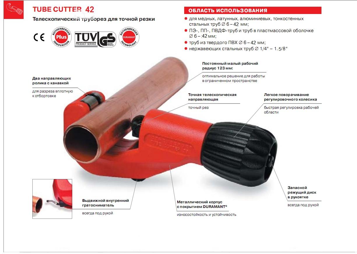 Труборез Rothenberger Tube cutter 42 70029 от 220 Вольт