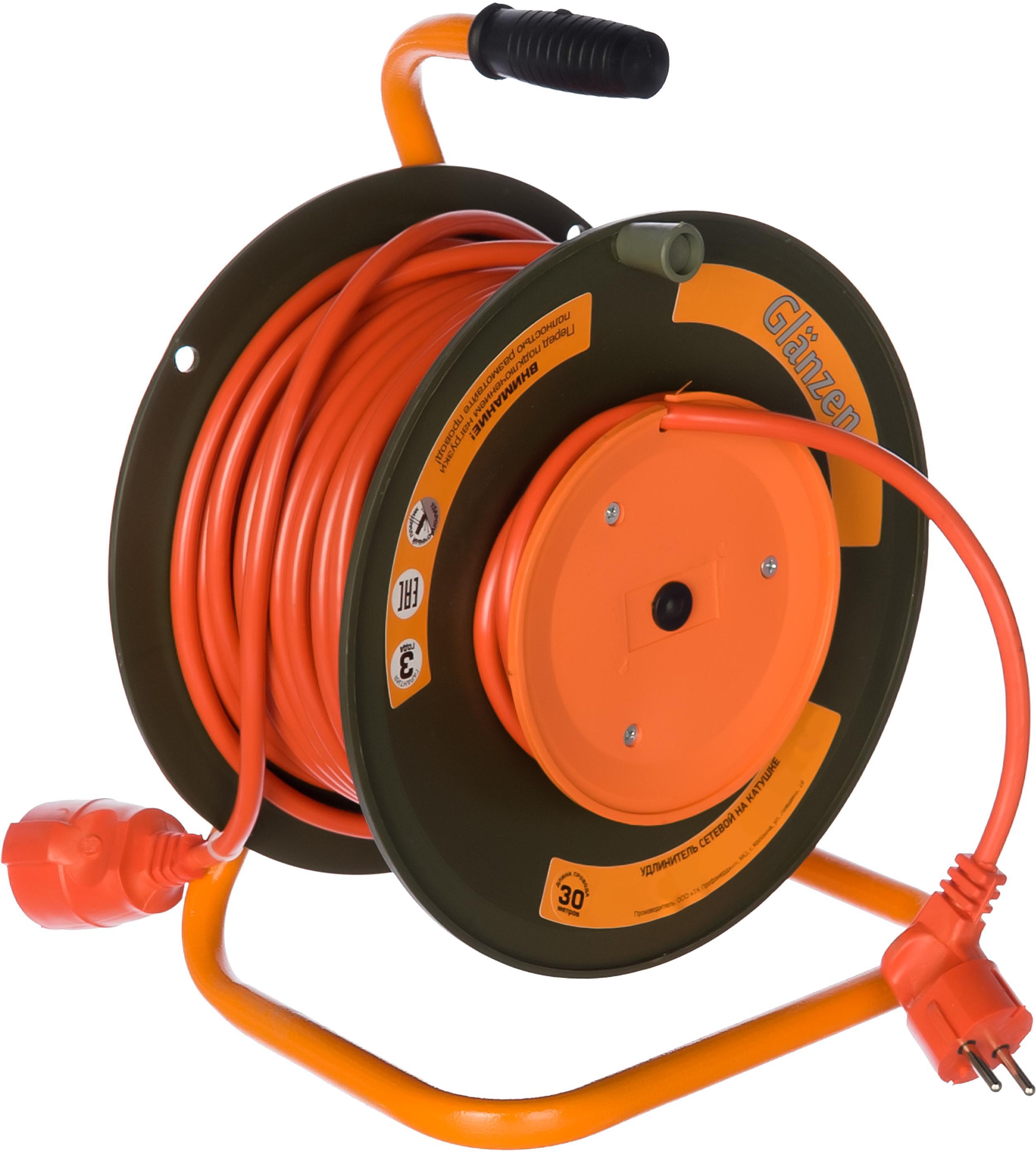 Удлинитель Glanzen Eb-30-010 силовой 30м на катушке 1 розетка ПВС 2х2.5 силовой удлинитель на катушке к1 0 25 lux 4606400417552