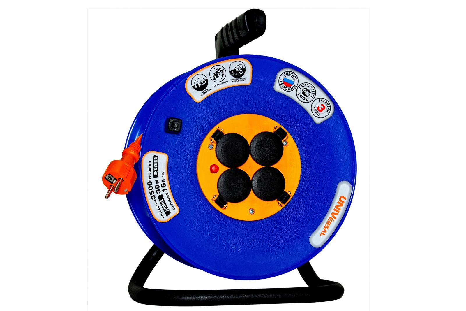 Удлинитель Universal ВЕМ-250 ip-44 термо ПВС 3*1,5 4гнезда 30м силовой удлинитель universal вем 250 термо пвс 2 0 75 20м 9634146