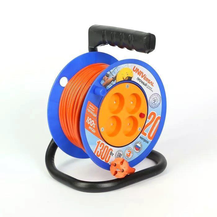 Удлинитель Universal У6-014 термо ПВС 2*0,75 4гнезда 20м удлинитель universal у6 639 шввп 2 0 75 3гнезда 10м