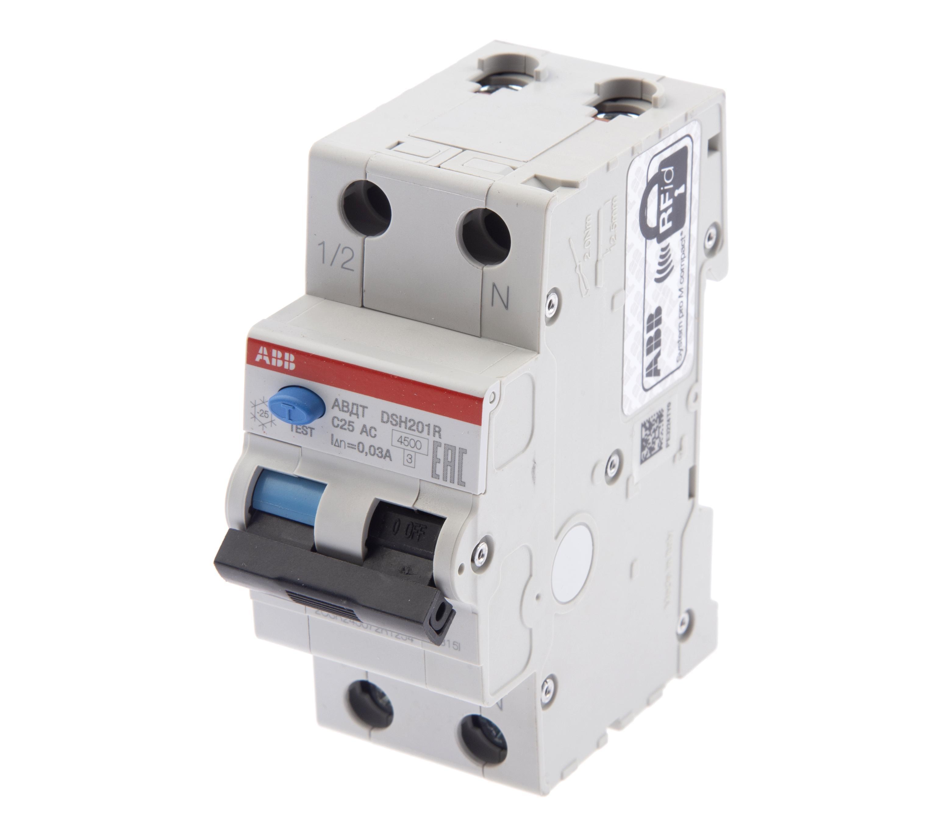 Диф. автомат Abb Dsh941r c25 дифференциальный автомат 1p n 25а тип c 30 ма 4 5 ka abb dsh941r