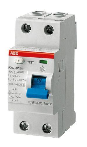 УЗО AbbАвтоматические выключатели<br>Номинальный ток: 40,<br>Тип выключателя: УЗО,<br>Количество полюсов: 2,<br>Номинальная отключающая способность: 6000,<br>Номинальный отключающий дифференциальный ток: 30,<br>Степень защиты от пыли и влаги: IP 20,<br>Количество модулей: 2<br>