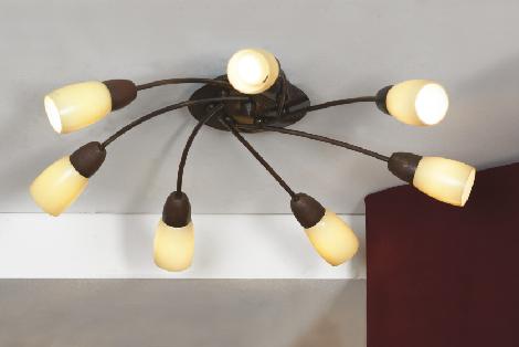 Люстра LussoleЛюстры<br>Назначение светильника: для гостиной,<br>Стиль светильника: модерн,<br>Тип: потолочная,<br>Материал светильника: металл, стекло,<br>Материал плафона: стекло,<br>Материал арматуры: металл,<br>Длина (мм): 140,<br>Ширина: 660,<br>Количество ламп: 7,<br>Тип лампы: накаливания,<br>Мощность: 40,<br>Патрон: Е14,<br>Цвет арматуры: дерево<br>