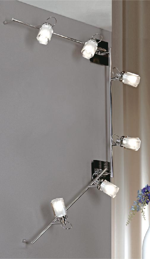 Спот LussoleСпоты<br>Тип: спот, Стиль светильника: модерн, Материал светильника: металл, стекло, Количество ламп: 6, Тип лампы: галогенная, Мощность: 40, Патрон: G9, Цвет арматуры: хром, Ширина: 110<br>