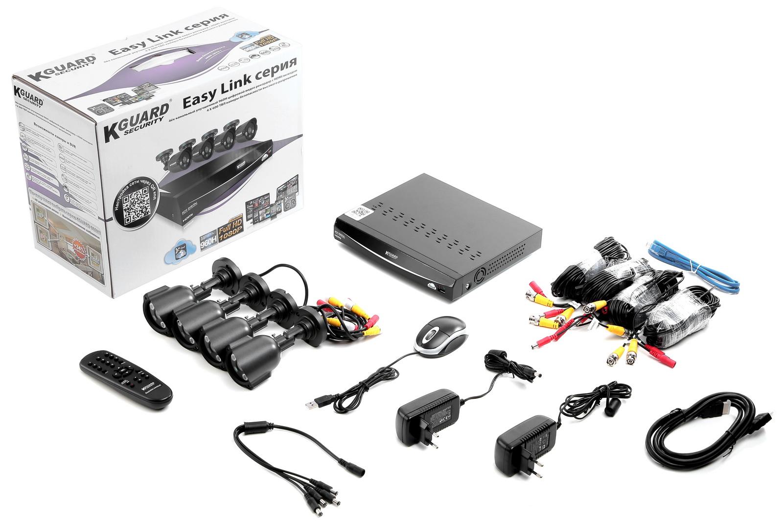 Комплект видеонаблюдения Kguard El421-4hw212b от 220 Вольт