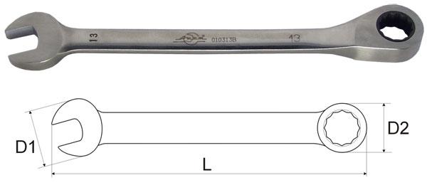 Ключ гаечный комбинированный с трещоткой 15х15 Aist 010315b