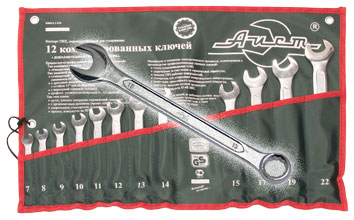 Набор комбинированных гаечных ключей, 12 шт. Aist 0011412bx2-m (7 - 22 мм) набор norgau 060240812 n7r 012 ключей 12 шт комбинированных гаечных