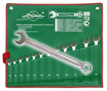 Набор комбинированных гаечных ключей, 12 шт. Aist 0010212a (8 - 19 мм) набор комбинированных гаечных ключей в держателе 8 шт fit 63416 8 19 мм