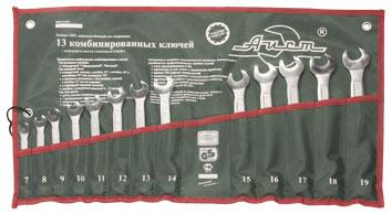 Набор комбинированных гаечных ключей, 13 шт. Aist 0011213ax-m (7 - 19 мм) набор комбинированных гаечных ключей airline 7 шт