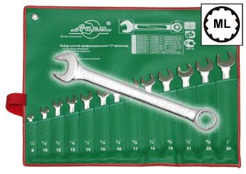 Набор комбинированных гаечных ключей в чехле, 13 шт. Aist 0011313a1 (13 - 37 мм) набор торцевых головок jonnesway 3 8dr 6 22 мм и комбинированных ключей 7 17 мм 36 предметов