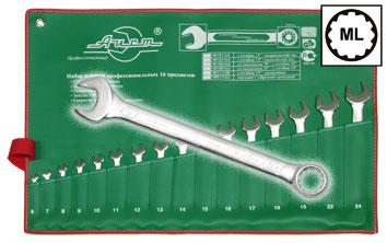 Набор комбинированных гаечных ключей в чехле, 43 шт. Aist 0011316a (6 - 24 мм) набор торцевых головок jonnesway 3 8dr 6 22 мм и комбинированных ключей 7 17 мм 36 предметов