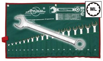 Набор комбинированных гаечных ключей в чехле, 18 шт. Aist 0011318a (6 - 24 мм) moscau